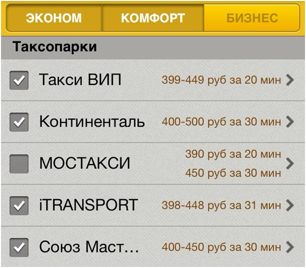Yandex.Taxi prices based on service type Yandex.Taxi: track and drive!